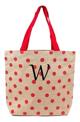 Cathy's Concepts Monogram Polka Dot Jute Tote Red