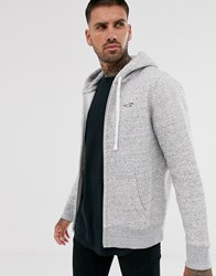 Hollister Core Icon Logo Full Zip Hoodie In Grey