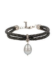 Chan Luu 10 11Mm Cultured Pearl 19 Tcw Diamond And Sterling Silver Bracelet Black