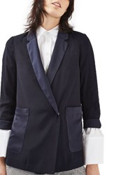 Topshop Women's Satin Pocket Blazer Navy Blue