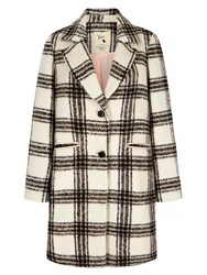 Yumi Check Print Single Breasted Coat Grey