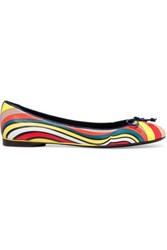 Emilio Pucci Printed Leather Ballet Flats Claret