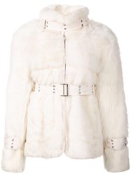 Sacai Shearling Jacket White
