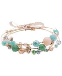 Lonna And Lilly Gold Tone 3 Pc Set Beaded Coil Bracelets
