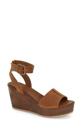 Women's Hinge 'Aimee' Wooden Platform Wedge Sandal Cognac Leather