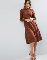 Asos Lace Midi Dress With Neck Detail Brown