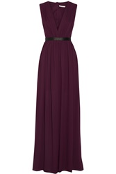 Alice Olivia Denise Leather Trimmed Chiffon Maxi Dress Purple