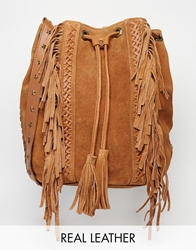 Maison Scotch Leather Bucket Bag With Fringing Tan