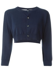 Comme Des Gara Ons Cropped Cardigan Blue