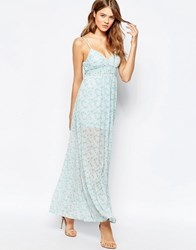 Traffic People Cami Maxi Dress In Ditsy Floral Print Blue