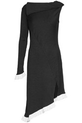W118 By Walter Baker Asymmetric Ruffle Trimmed Two Tone Ribbed Knit Dress Black