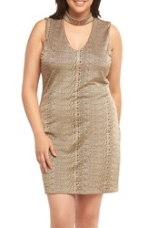 Tart Plus Size Women's Davon Choker Neck Sheath Dress Gold Snake