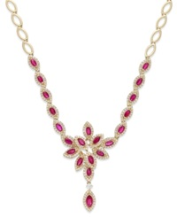 Effy Collection Ruby Royale By Effy Ruby 3 1 2 Ct. T.W. And Diamond 1 1 3 Ct. T.W. Necklace In 14K Gold Yellow Gold