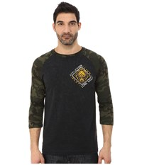 Affliction Lone Wolf 3 4 Sleeve Raglan Black Camo Lava Wash Men's Long Sleeve Pullover