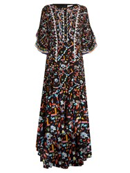 Peter Pilotto Kaleidoscope Print Silk Crepe Gown Black Multi