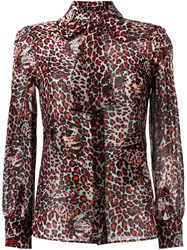 Saint Laurent Tiger Print Pussybow Blouse Red