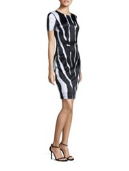 St. John Zebra Printed Dress Bianco Caviar