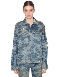 Filles A Papa Distressed And Printed Cotton Denim Jacket Blue