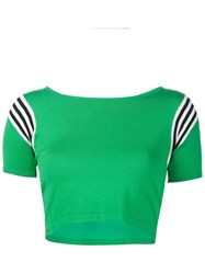 Unif Striped Shoulders Cropped T Shirt Green