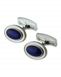 Hickey Freeman Rhodium Plated Oval Lapis Cabochon Cuff Links Blue