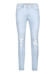 Topman Light Wash Blue Ripped Spray On Skinny Jeans