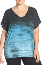 Plus Size Women's Hard Tail V Neck Print Jersey Tee Dark Gray Turquoise Aqua