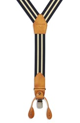 Magnanni Double Line Suspenders Navy Yellow