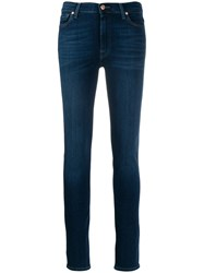 7 For All Mankind Faded Skinny Jeans Blue