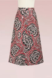 Red Valentino Long Brocard Skirt Lacca