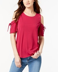 Inc International Concepts Cold Shoulder Lace Up Top Created For Macy's Magenta
