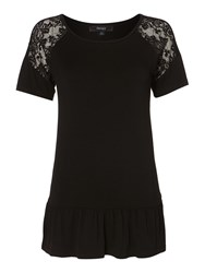 Therapy Insert Lace Peplum Top Black