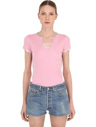 Zadig And Voltaire Short Sleeve Modal T Shirt Pink