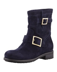 Jimmy Choo Youth Suede Flat Biker Boot Navy