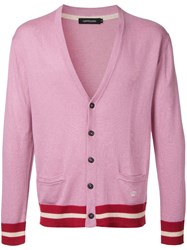 Loveless Striped Trim Cardigan Pink Purple