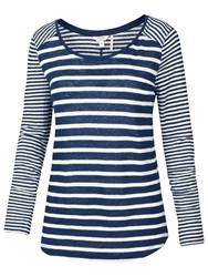 Fat Face Long Sleeve Skinny Stripe Linen Top Indigo