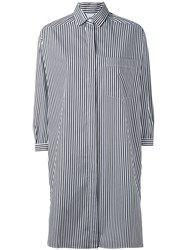 Aspesi Striped Shirt Dress Women Cotton L White