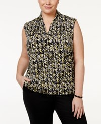 Nine West Plus Size Pleated V Neck Top Citrine Multi
