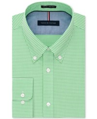 Tommy Hilfiger Men's Slim Fit Non Iron Check Dress Shirt Sea Grass