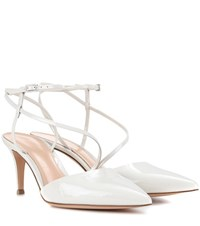 Gianvito Rossi Carlyle Mid Patent Leather Pumps White