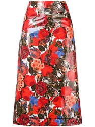 Marni Floral Midi Skirt Red