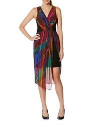 Laundry By Shelli Segal Sleeveless V Neck Illusion Crepe Sheath Dress Multi Colored