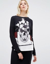 Religion Skull Long Sleeve Backless Top Black