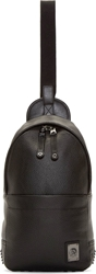 Diesel Black Leather Remmiton Crossbody Backpack