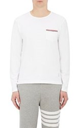 Thom Browne Men's Cotton Long Sleeve Pocket T Shirt White