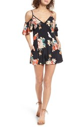 Band Of Gypsies Women's Floral Print Cold Shoulder Romper