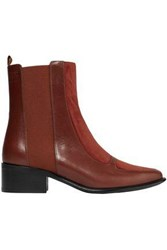 Loewe Woman Leather And Suede Ankle Boots Brick