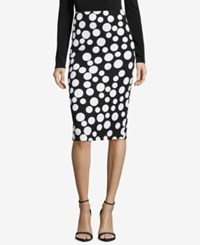 Eci Printed Pencil Skirt Black White