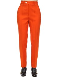 Gucci High Waist Wool Blend Gabardine Pants Orange