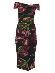 Dolce And Gabbana Tulip Print Off The Shoulder Stretch Silk Dress Burgundy Multi