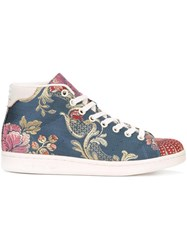 Adidas Floral Jacquard Mid Top Sneakers Blue